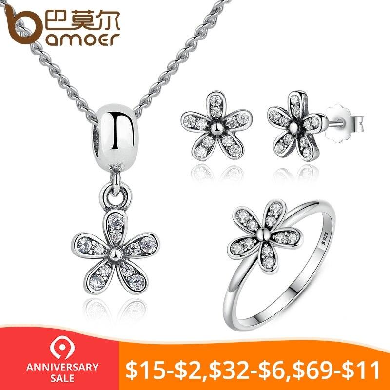 f1ad2862e899 BAMOER de conjunto de joyas de plata de ley 925 deslumbrante Daisy y claro  CZ novia