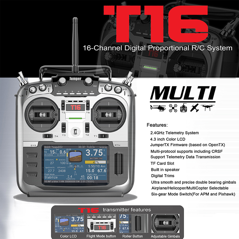 Jumper T16 Open Source Multi-protocol Radio Transmitter JumperTX 2.4G 16CH 4.3 inch LCD for FPV Racing Drone Aircraft QuadcopterJumper T16 Open Source Multi-protocol Radio Transmitter JumperTX 2.4G 16CH 4.3 inch LCD for FPV Racing Drone Aircraft Quadcopter