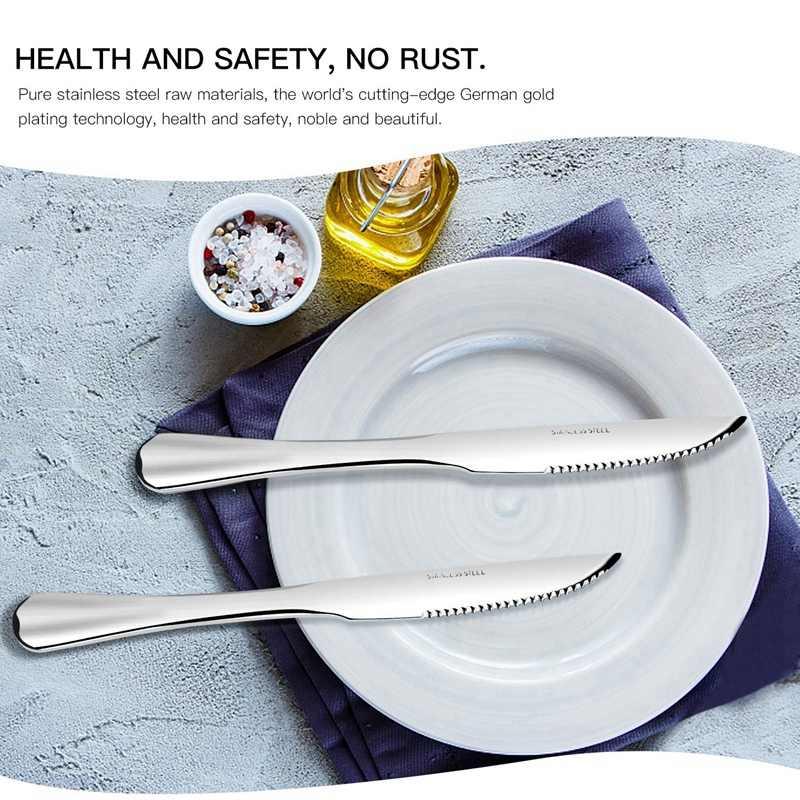 Facas de bife, aço inoxidável resistente faca de bife conjunto de 12 para chefs cozinha comercial ótimo para churrasco casamentos jantares par