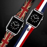 Für Apple Uhr Serie 4 Strap Echtem Leder Flagge Stil Uhr Band Für Apple Uhr Serie 1 2 3 Uhr strap Uhrenarmbänder 38-42mm