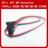 100pcs 50cm 1m 2m 3m 5m JST SM Connector Male Female LED Connector Cable Wire 22awg For WS2812B WS2811 SK6812 LED Strip