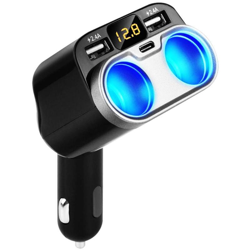 80 W 2-buchse Auto Zigarette Leichter Splitter Dual Usb + Typ C Ladegerät Adapter Mit Auf/off Schalter Spannung Display Für Iphone Ipad