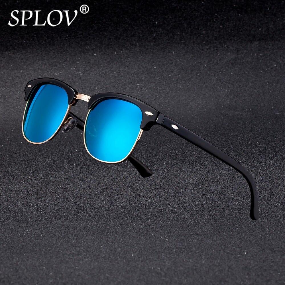 La mitad De Metal De alta calidad Gafas De Sol De las mujeres De los hombres, diseñador De marca, Gafas De espejo Gafas De Sol De moda Gafas De Sol De UV400 clásico