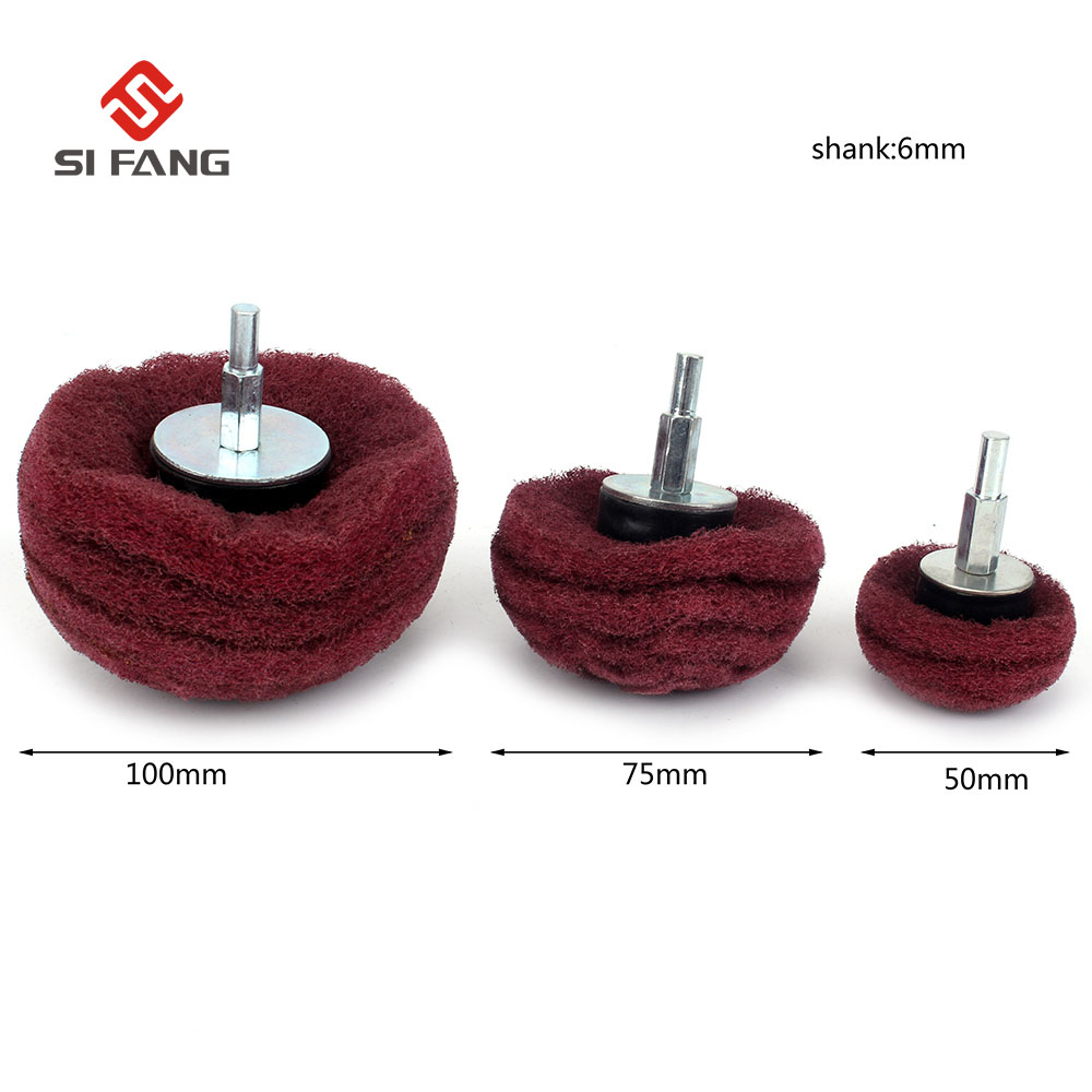 2-3PCS Polishing Wheel 50mm-100mm 320# Dome Coarse Grit Sanding Mop Polishing Pad Mop Wheel Polishing Mop Set For Metal Polish