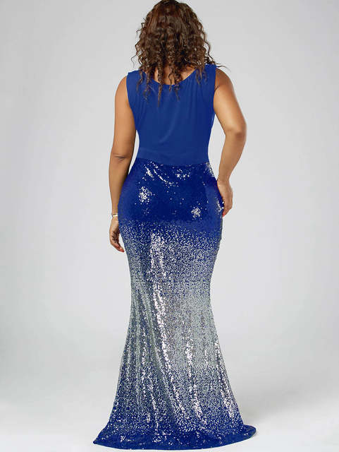 acd5bc28e9335 Wipalo Sequins Royal Blue Formal Party Dress Women Plus Size ...