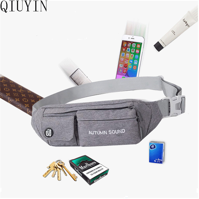 QIUYIN Men Casual Durable Fanny Waist Pack Waist Bags Belt Nylon New Hip Bum Military Bag Pouch Three Zipper Pockets in Waist Packs from Luggage Bags