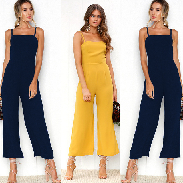 67403ab84 2019 High Waist Rompers Womens Jumpsuit Wide Leg Pants Sexy Strapless  Backless Halter Bodysuit Women Black Blue Green Yellow Red