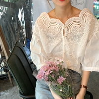 2018 Spring Women Blouse Lace V neck Wide Shoulder Half Sleeve Sexy Shirts Fashion Tops Blusas Hollow Cotton Flowers White