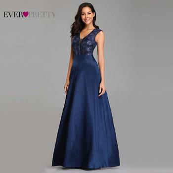 Prom Dresses Long 2020 Ever Pretty EZ07731NB New Navy Blue A-line Lace Appliques Sequined Wedding Guest Gowns Vestido De Gala 2