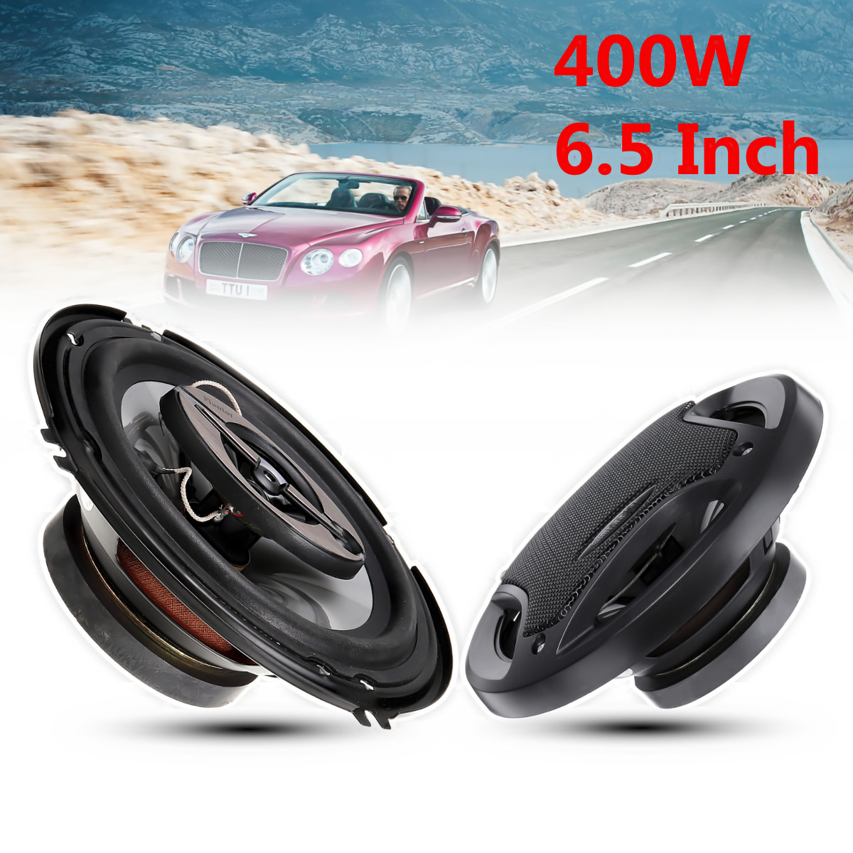2pcs 6.5 inch 400W 3 Way Auto Car Loudspeaker Coaxial Speakers Horn Audio Music Stereo Hifi Vehicle Car Speaker and Subwoofer