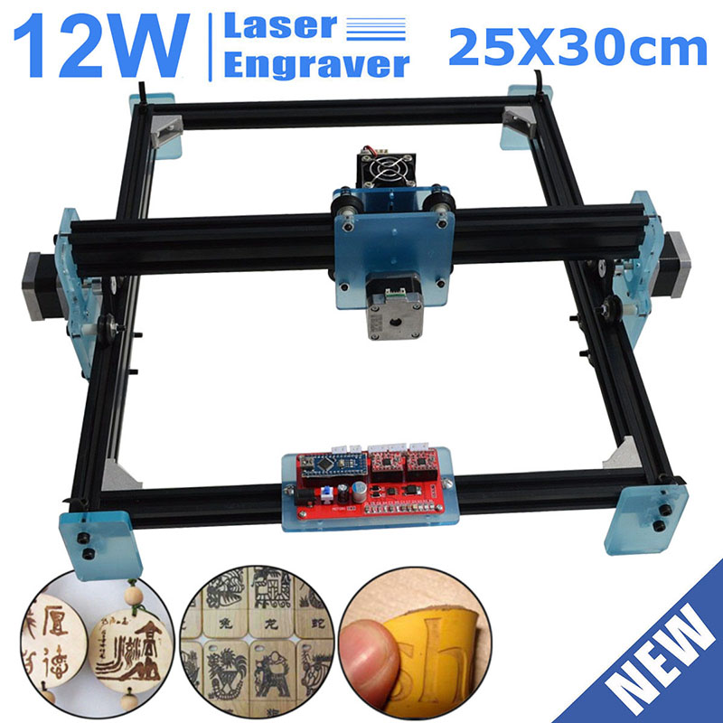 DIY 12 Вт мини ЧПУ лазерный гравер принтер дерево металл камень резка маркировочная машина 25x30 рабочая зона лазерная гравировка машина
