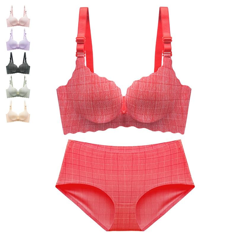 Fashion Plaid   Bras     Briefs   For Women Push Up Lingerie Seamless   Bra     Set   Panties Sexy Bralette Wire Free Brassiere Underwear #D
