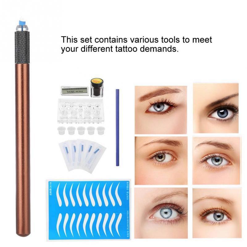 Einfach Tattoo Tool Kit Medizinische Grade Edelstahl Nadel Tattoo Stift Microblading Kit Für Körper Make-up Augenbraue Tattoo Pigment Kit Werkzeug Schnelle Farbe