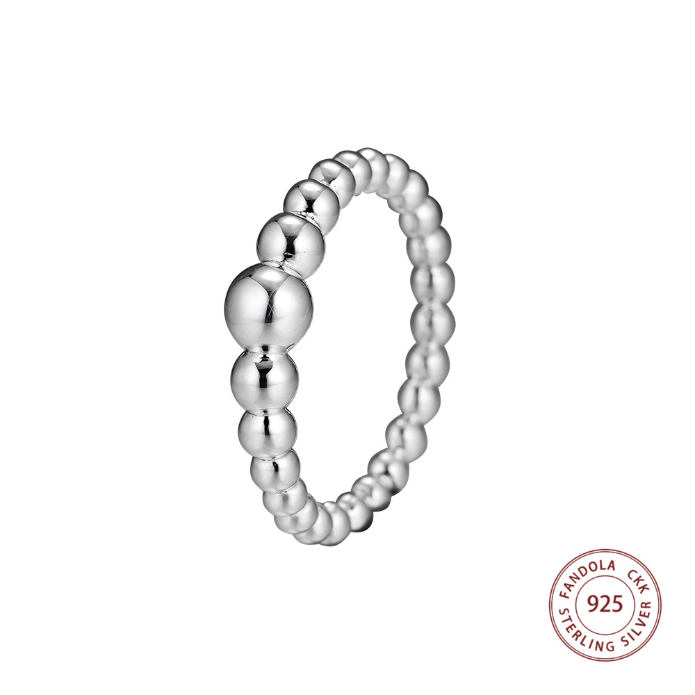 Original 925 Sterling Silver String of Beads Finger Ring Decorate Rings for Women Wedding Engagement JewelryOriginal 925 Sterling Silver String of Beads Finger Ring Decorate Rings for Women Wedding Engagement Jewelry