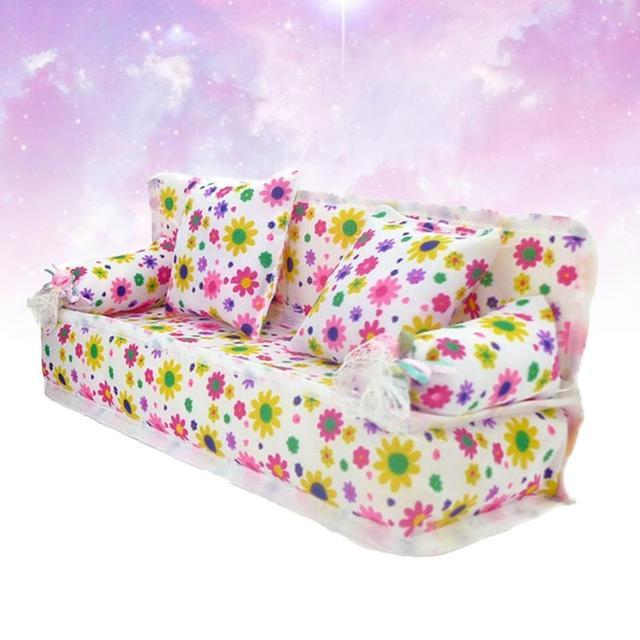 Enfants Mini fleur canapé tissu imprimés floraux canapé coussins jouet maison de poupée Miniature meubles jouets pour poupée accessoires enfants