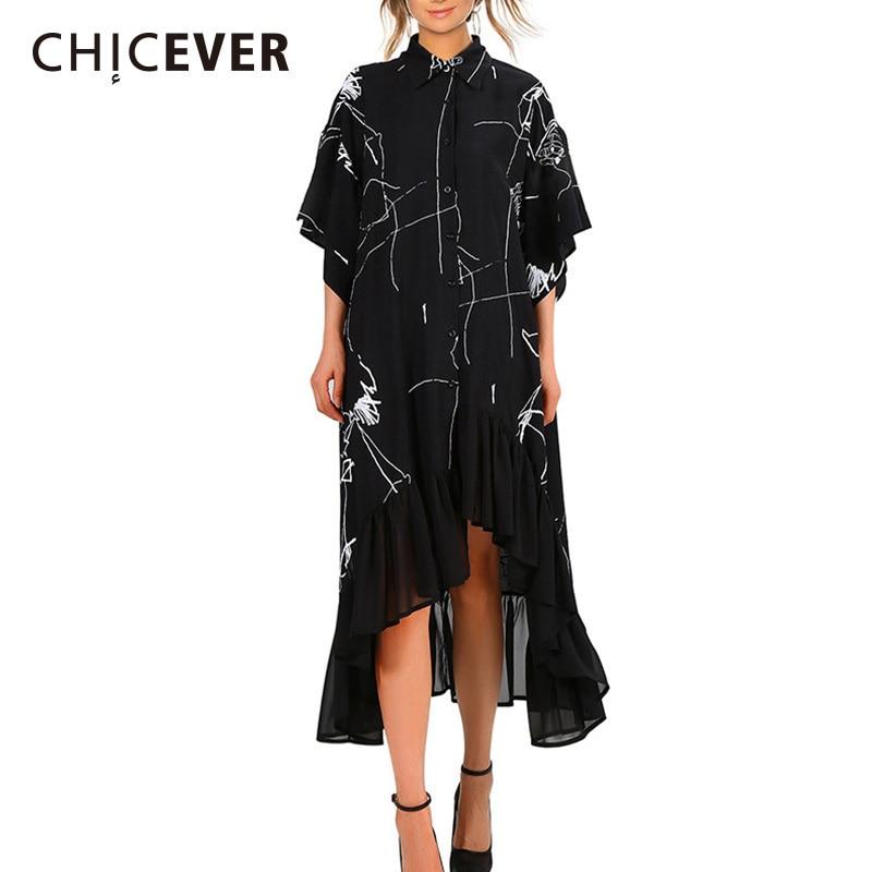CHICEVER Autumn Black Dress Female Hand Painted Loose Oversize Half Sleeve Hem Asymmetrical Ruffles Dresses For Women 2018 New
