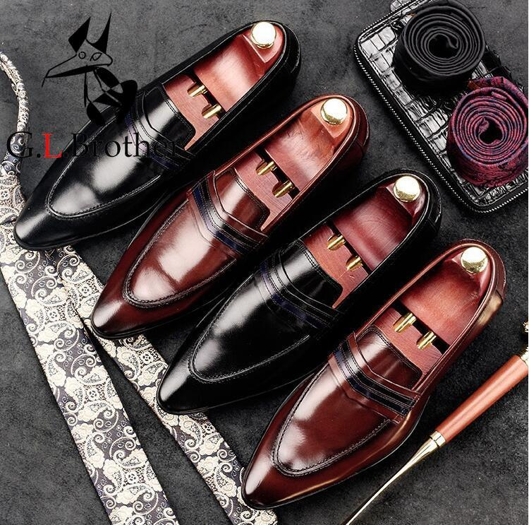 Genuine Leather Men's Dress Shoes Slip-On Pointed Toes Patchwork Male Flats Loafers Striped Moccasin Gommino Spring Casual Shoes vertical striped patchwork expansion maxi dress