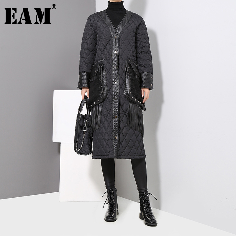 [EAM] 2019 New Spring Women V-collar Long Sleeve Blcak Loose Pu Leather Pocket Cotton-padded Coat Fashion Parkas JK282