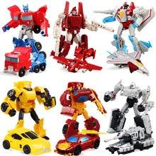 6 cores transformação deformação robô caminhão tanque de corrida carro avião modelo figuras ação brinquedos presente para chirldren meninos