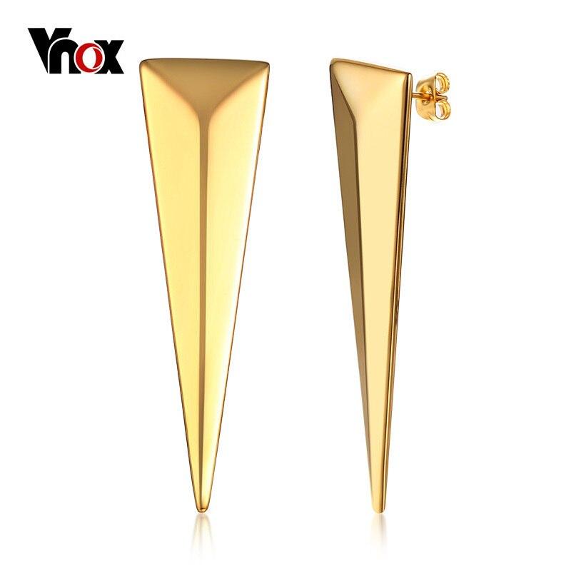 Vnox Cool Punk Stud Earrings for Women Gold Color Stainless Steel Long Earring Female Dating Party JewelryVnox Cool Punk Stud Earrings for Women Gold Color Stainless Steel Long Earring Female Dating Party Jewelry