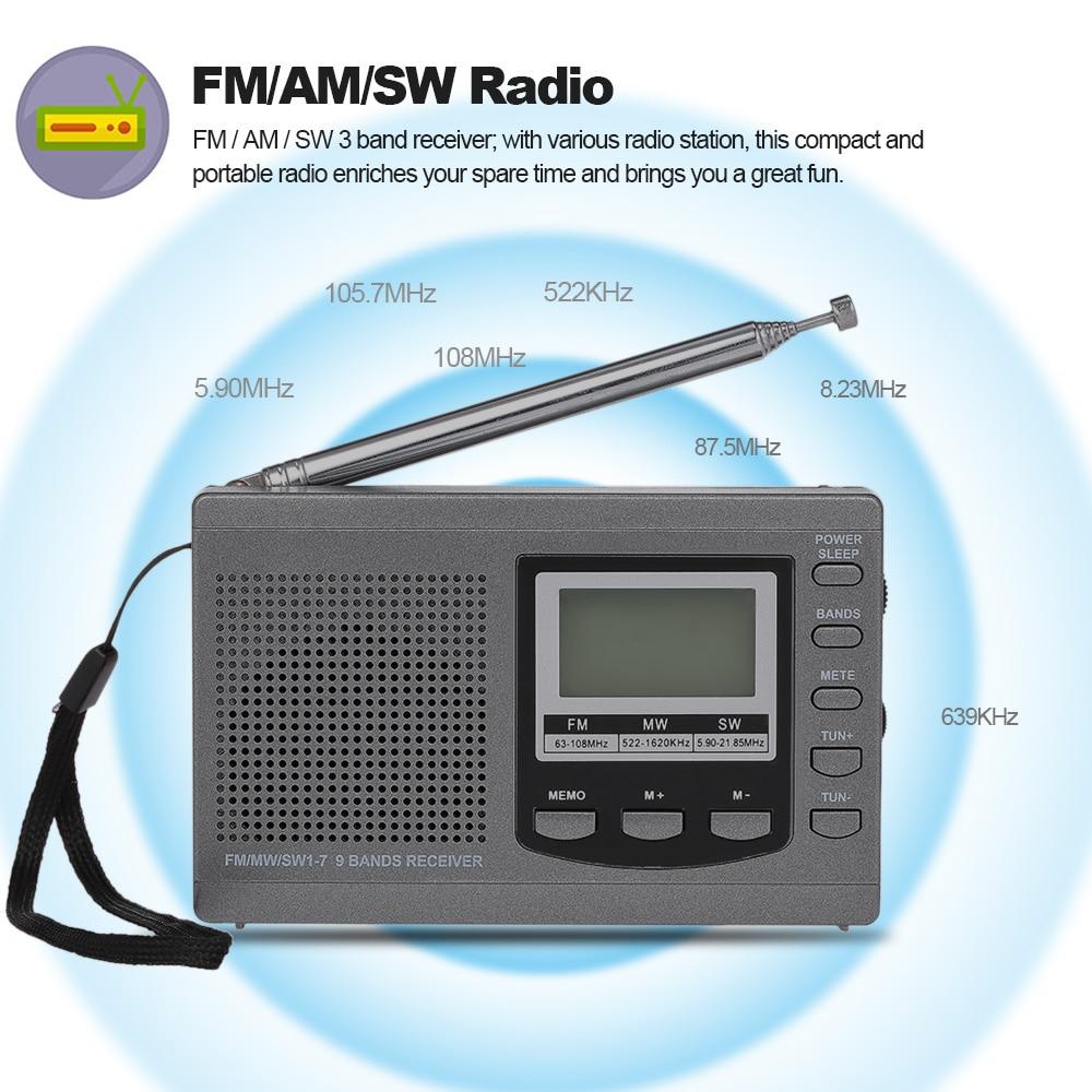 Fm/am/sw Radio Digital Stereo Radio Receiver Kopfhörer Ausgang Zeit Display Wecker Externe 7 Abschnitt Drehbare Antenne Produkte HeißEr Verkauf Unterhaltungselektronik Tragbares Audio & Video
