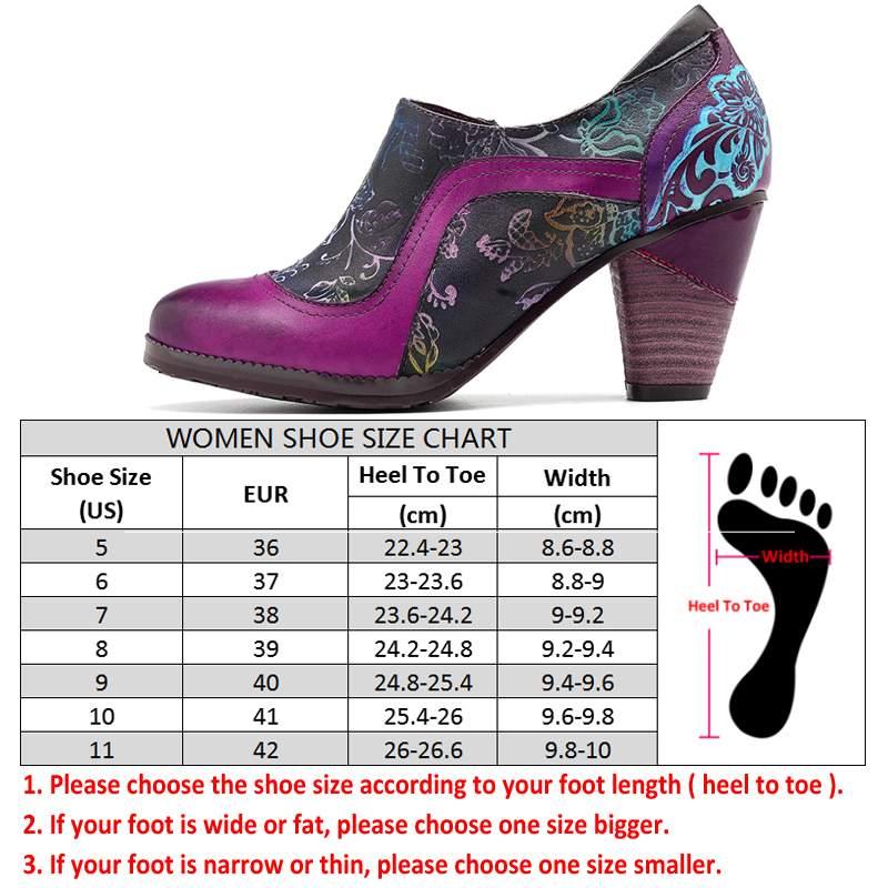 Socofy 레트로 정품 가죽 펌프 여성 신발 여성 지퍼 빈티지 인쇄 꽃 chunky 하이힐 펌프 민족 춤 신발-에서여성용 펌프부터 신발 의  그룹 3