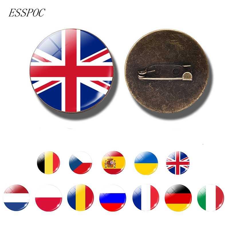 Nasional Bendera Lencana Pin Perancis Italia Spanyol Polandia Belanda Rusia Irlandia Negara Bendera Bros Kaca Cabochon Perhiasan