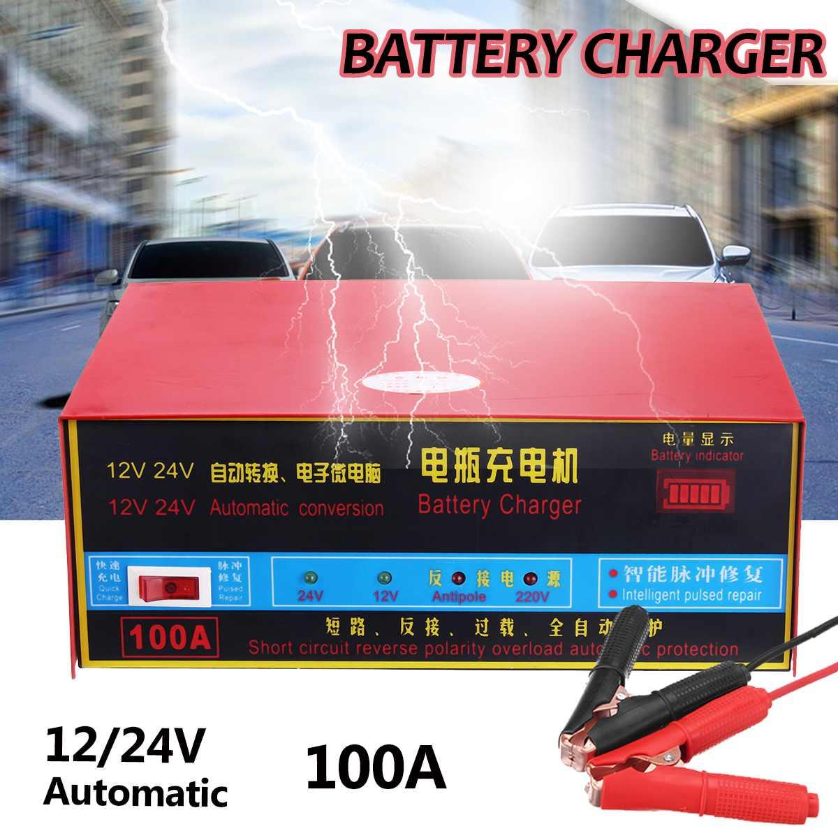 Chargeur de batterie de voiture 12 V 24 V complètement automatique chargeur de batterie de voiture électrique sauter Intelligent Type de réparation d'impulsion 100AH pour moto