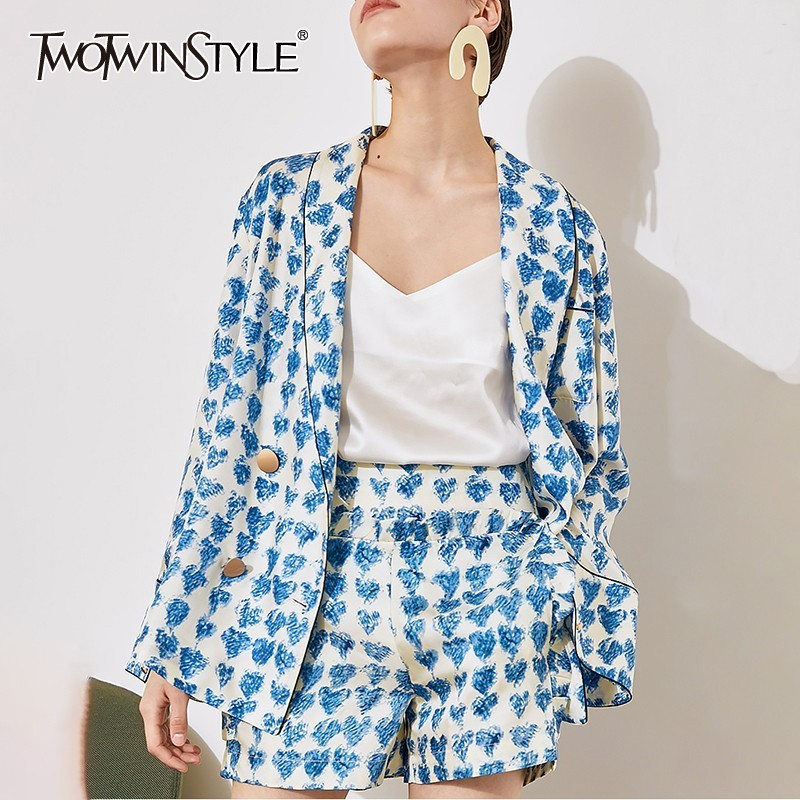 TWOTWINSTYLE Elegant Print Blazer Shorts Suits Female Flare Sleeve Coats Tops High Waist Shorts Two Piece