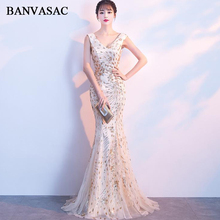 BANVASAC Sexy Deep V Neck Tulle Mermaid Long Evening Dresses Elegant Party Sequined Lace Up Backless Prom Gowns