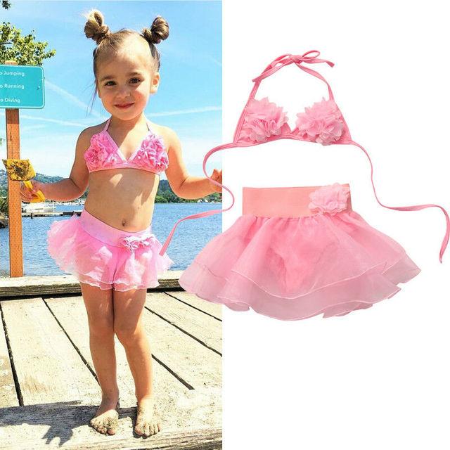 Pudcoco 2019 קיץ חמוד ילדי תינוק בנות Tankini פרח ביקיני סט בגדי ים בגד ים רחצה ורוד חמוד חוף SS