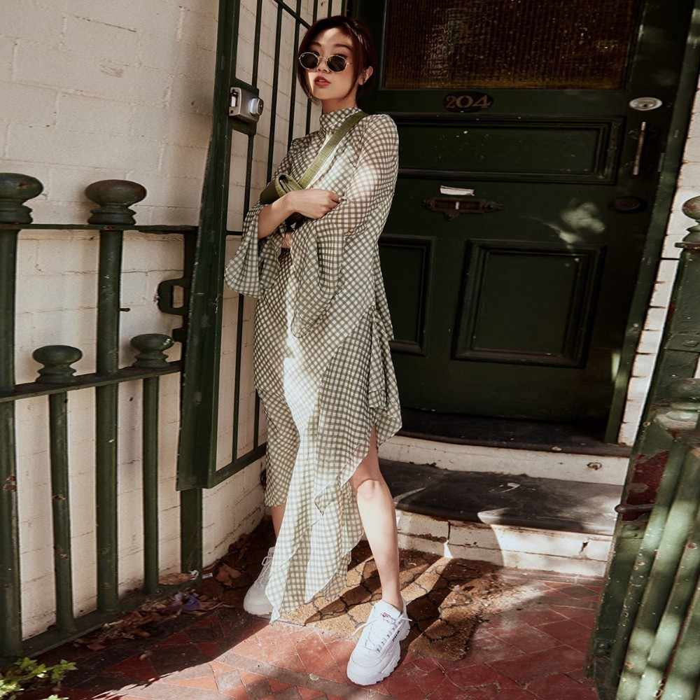 HDY Haoduoyi платье с высоким воротником и бантом-бабочкой платье с открытой спиной и оборками с длинными рукавами