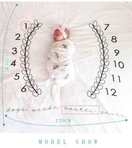 ฤดูร้อนเด็กทารกเด็กแรกเกิดผ้าฝ้ายพิมพ์ผ้าห่ม Milestone การถ่ายภาพฉากหลังภาพ Prop Swaddling ผ้าห่มผ้า 120x120