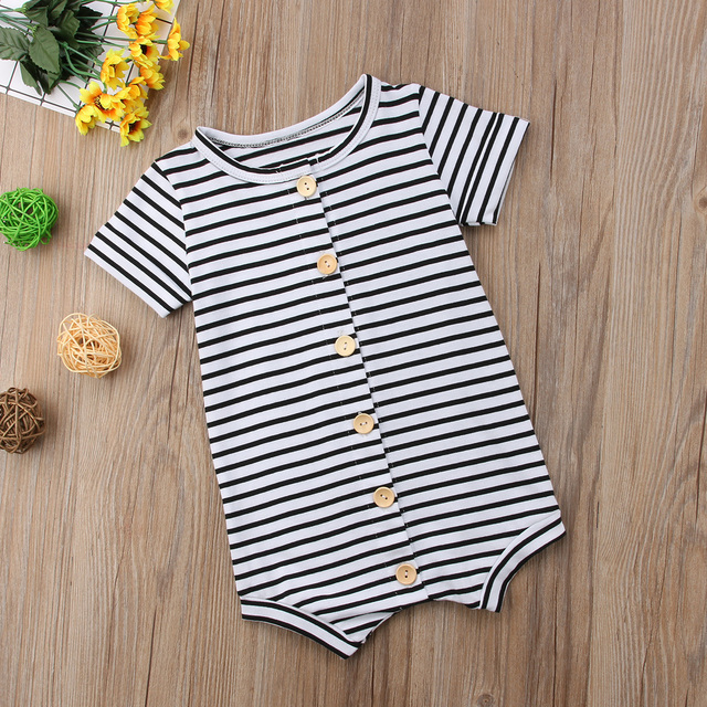 2019 Brand New Toddler Newborn Baby Boys Girl Striped Romper Infant Boy Girl Jumpsuit Cotton Short Sleeve Casual Summer Clothing 1