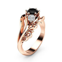 Bride Ring Inlaid With Hollow Flower Black Rhinestone Size6 7 8 9 10 Wedding Valentines Gift Rose Gold Zircon 1PC Engagement(China)