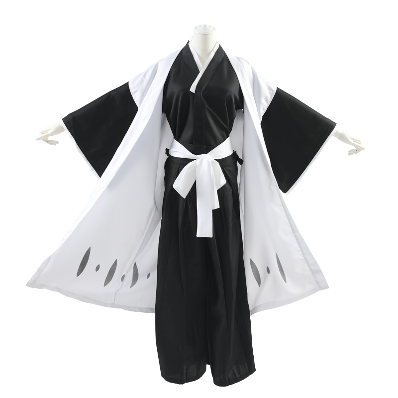 Milky Way Anime BLEACH Ichimaru Gin Cosplay Costume Robe Cloak Coat Japanese Kimono Kendo Costume With Mask And Shoes