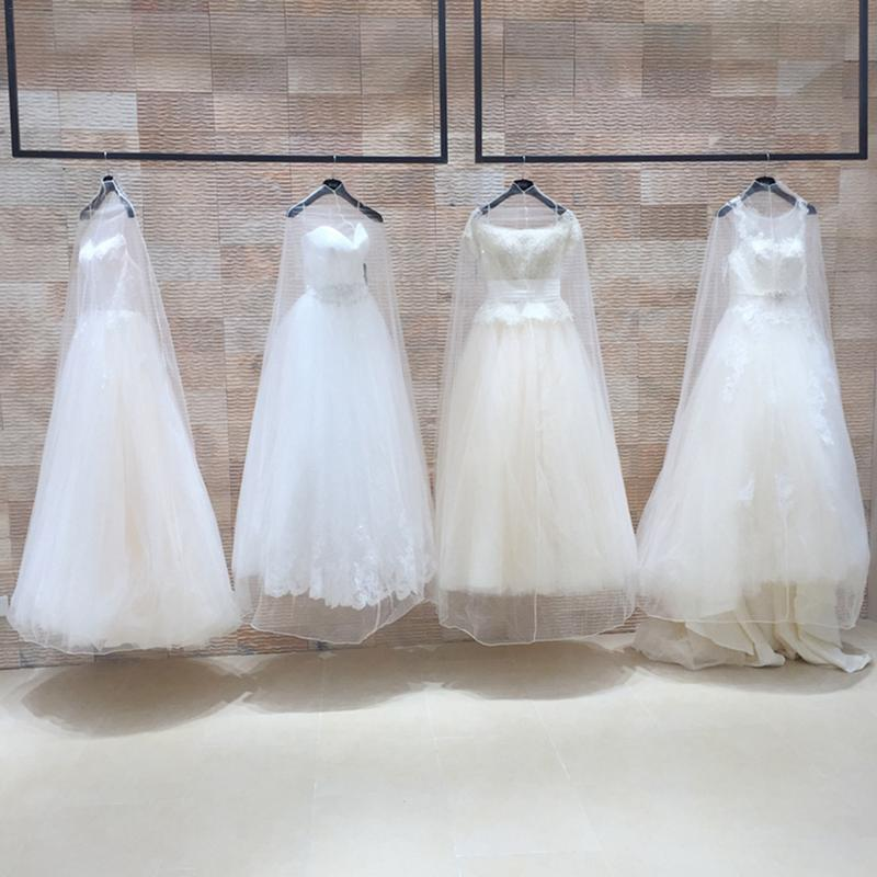 Transparent Soft Tulle Dust Cover For Home Clothes Wedding Dress Garment Bridal Gown Protector Mesh Yarn 160cm 180cm 200cm