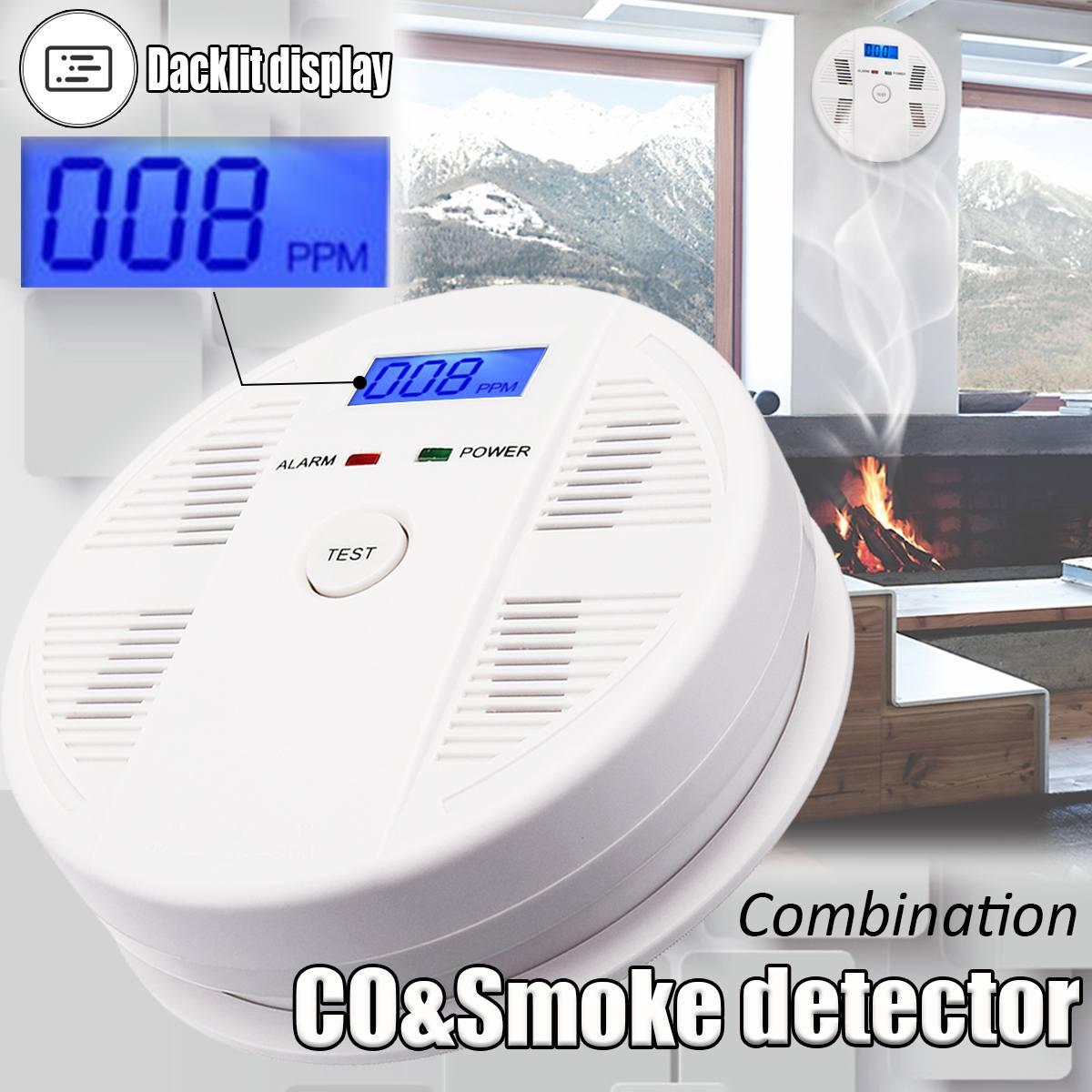 Smoke CO Gas Sensor Detector Carbon Monoxide Poisoning Alarm Detector LCD Photoelectric Independent 85dB Warning High Sensitive co carbon alarm sensor warning monoxide poisoning smoke gas detector tester