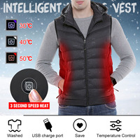 Mens Winter Heated USB Charge 3modes Hooded Work Jacket Coats Vest Adjustable Temperature Control Safety Clothing