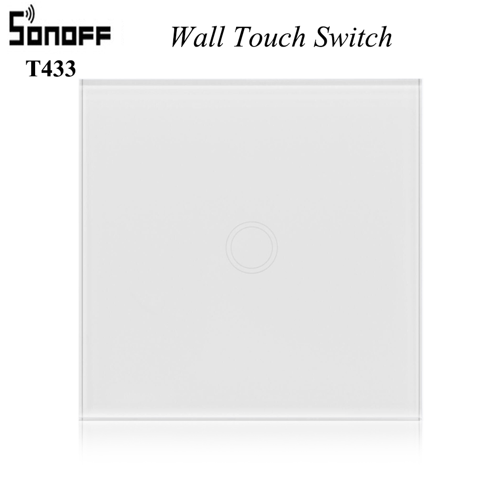 SONOFF T433 Wall Touch Switch Remote Control Switch 86 Type RF 433MHz RF Glass panel Smart Wall Light Switch With Battery