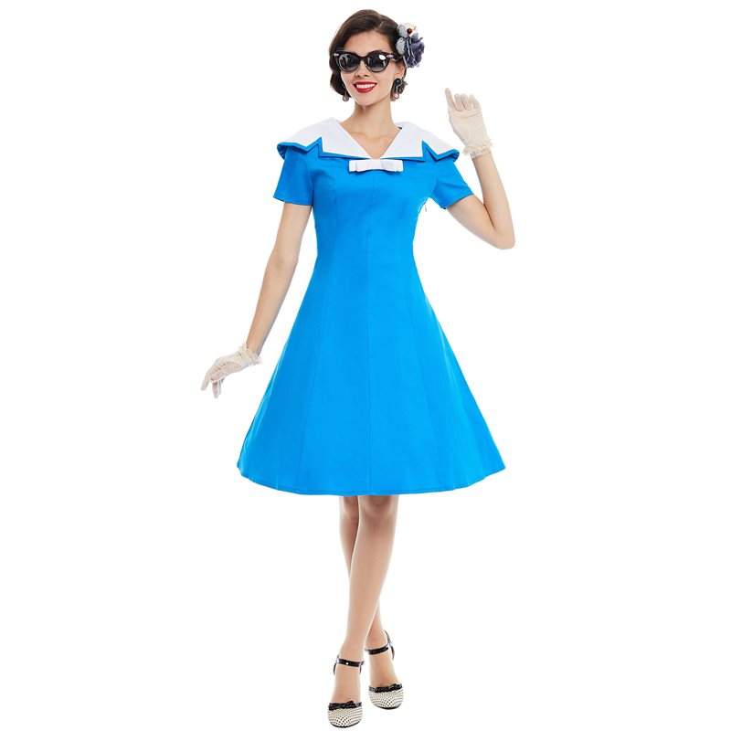 Sisjuly Винтаж платье Для женщин лето синий, белый классический лацкан Ретро повседневные платья короткий рукав линия тонкий 1950 s Вечерние