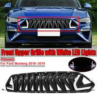 Car Front Upper Bumper Grille Grill With White/Red LED Lights For Ford For Mustang 2018 2019 Grill For Mustang For Armor Style