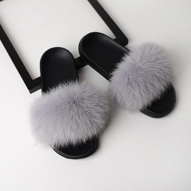 SARSALLYA Fur Slippers Women Real Fox Fur Slides Home Furry Flat Sandals Female Cute Fluffy House Shoes Woman Brand Luxury 2019 4