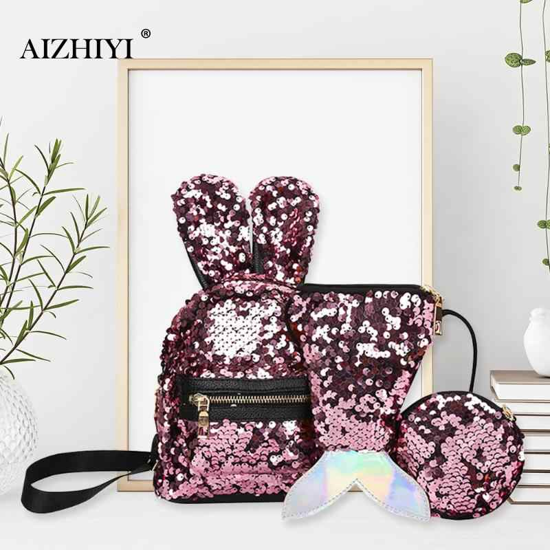 b0733e2cf398 1 3pcs Set Mini Shining Sequins School Backpack Women Rabbit Ears Rucksack  Cartoon Label