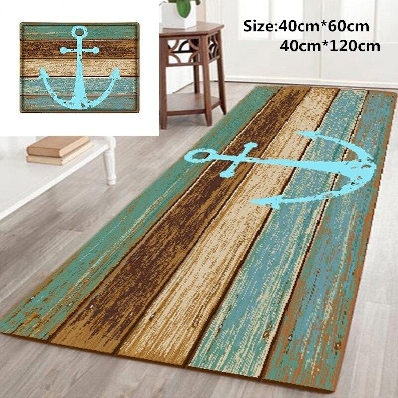 Bathroom Carpet Nautical Anchor Rustic Wood-3D Rugs Bath Mat Bath Rugs Anti-Slip Kitchen Mats Bathroom Mat Home & Living