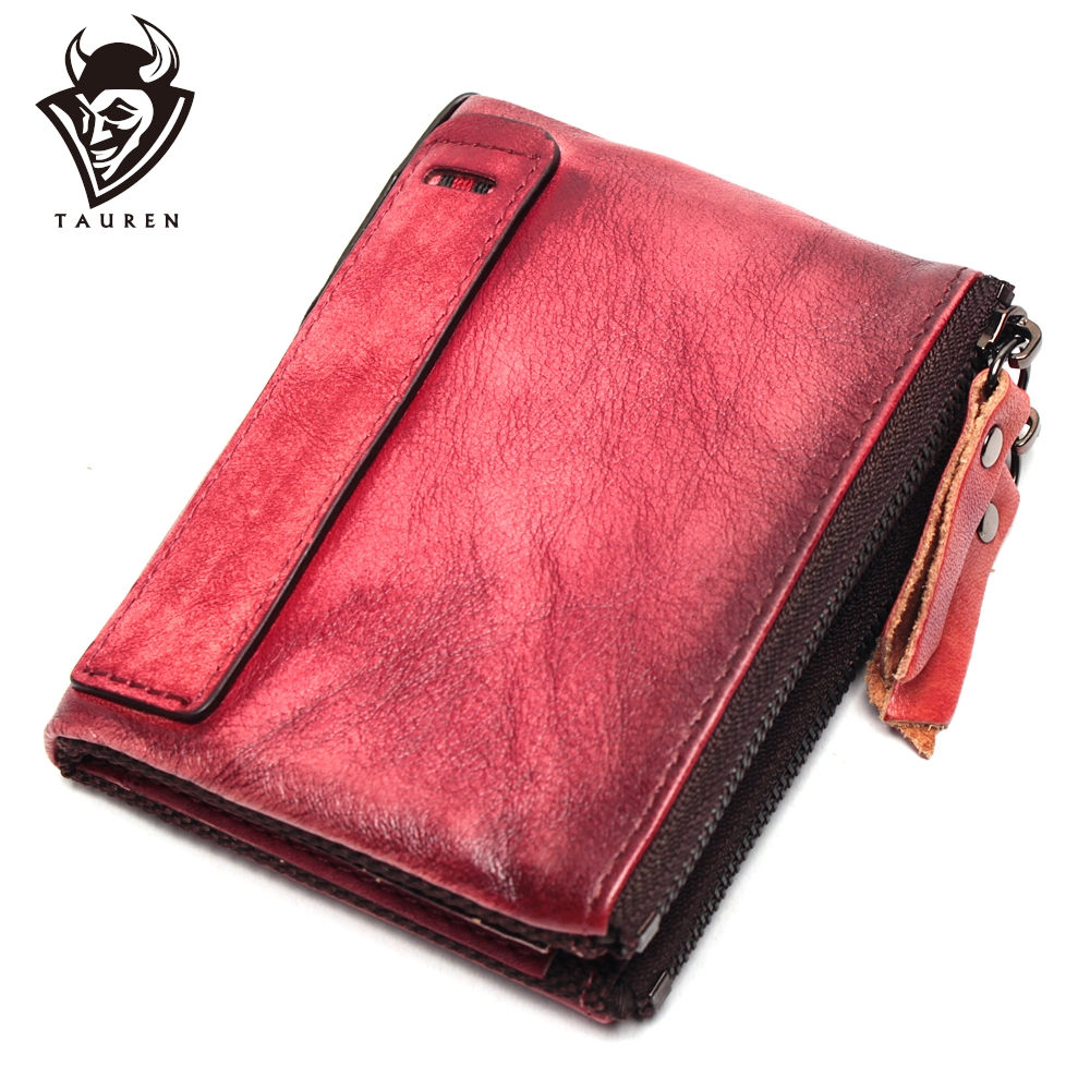 New Hot Selling Genuine Leather Vintage Color High Quality Purse Coin Bag Wholesale Custom Double Zipper Wallet For Men