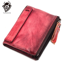 цена на New Hot Selling Genuine Leather Vintage Color High Quality Purse Coin Bag Wholesale Custom Double Zipper Wallet For Men