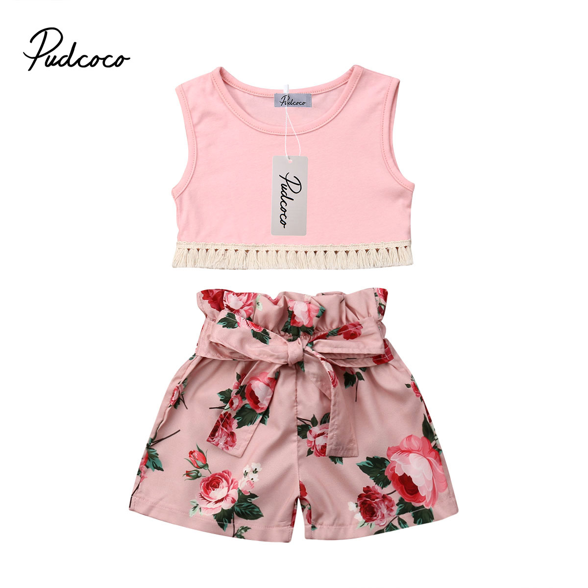 Sweet Baby Kids Girl Toddler Bowknot Vest Tops T shirt Pants Outfits Set Clothes