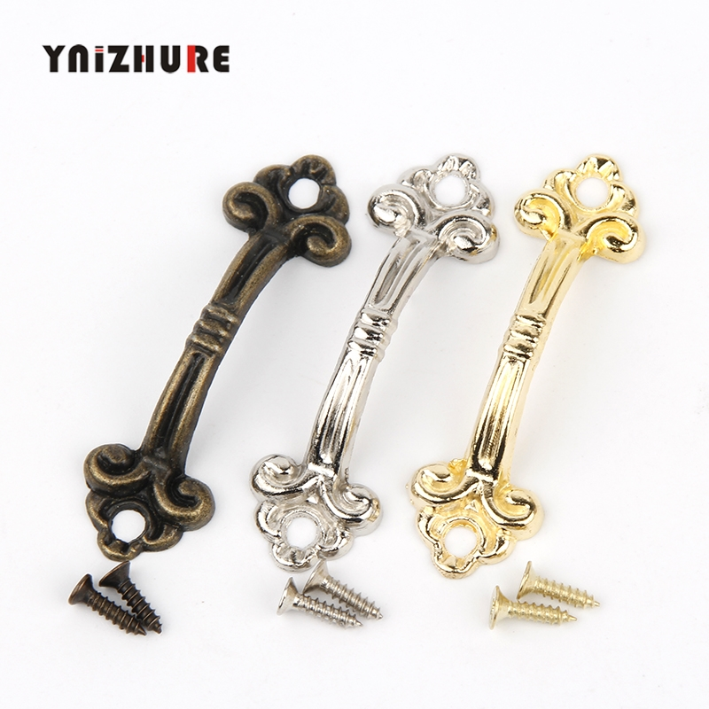 YNIZHURE 10pcs Handles Knobs Pendants Flowers For Drawer Wooden Jewelry Box Furniture Hardware Bronze Tone Handle Cabinet Pulls