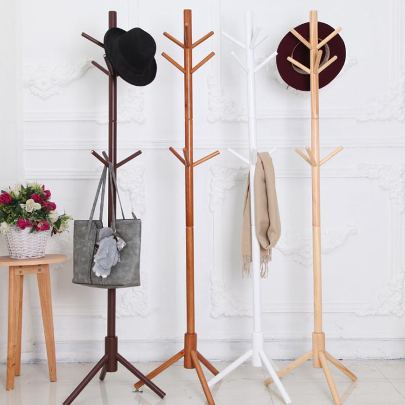175cm 9 Hooks Modern Cloth Coat Racks, Floor Standing Hall Furniture, Simple Wooden Floor Clothes Rack, Bedroom Living Room